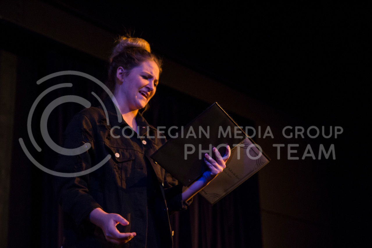 """Delivering her line, Emma Price performs in """"Who Will Talk to the Boys?"""". The show was held in The Purple Mask Theatre on March 1, 2018. (Andrea Klepper 
