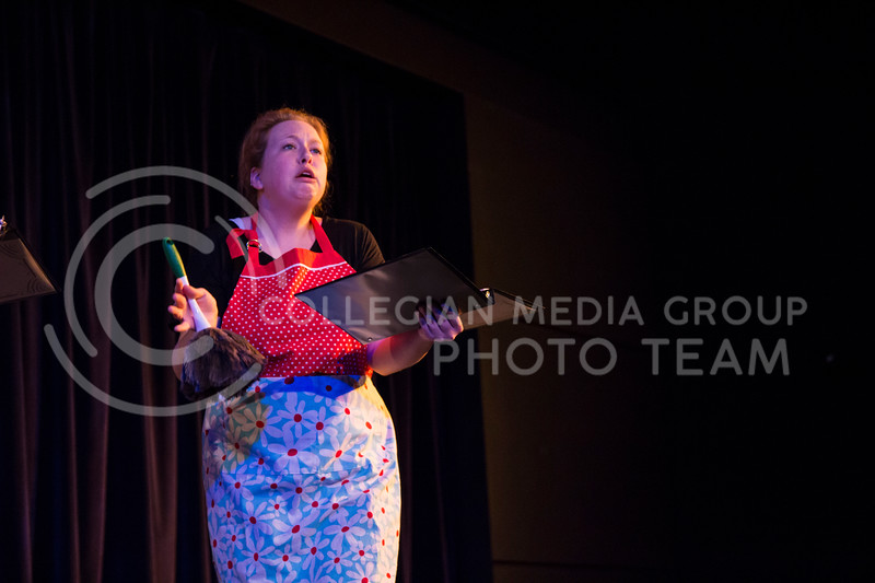 "Acting as another character, Kaitlyn Burns performs in ""Who Will Talk to the Boys?"". The show was held in The Purple Mask Theatre on March 1, 2018. (Andrea Klepper 