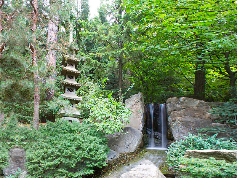 Japanese Gardens with Waterfall