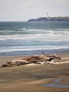 Oregon Lighthouse with Sea