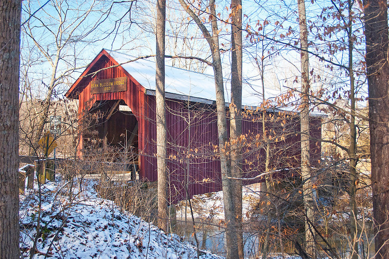 BC-502 Bean Blossom Bridge in Snow