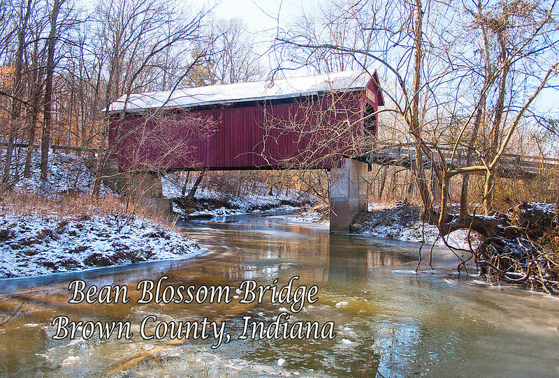 BC-503 Bean Blossom Bridge with Creek (Winter)