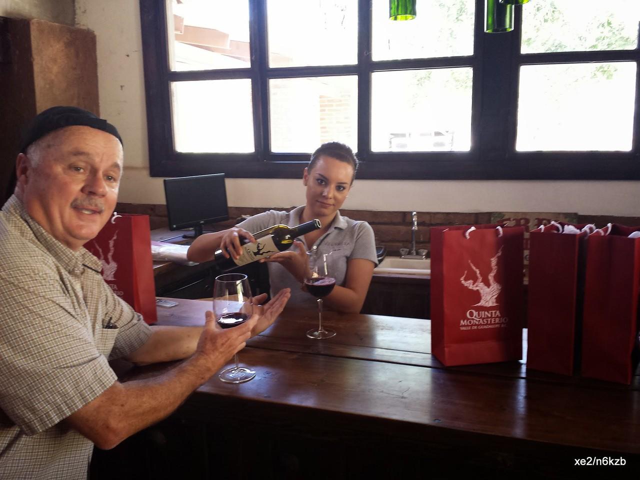 Havng fine wine at Valle de Guadalupe