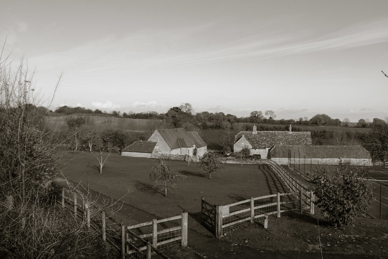 Wick Farm on a sunny day with blue sky