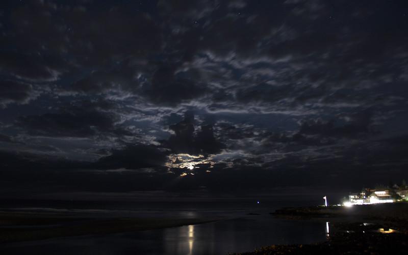 Full Moon peeking through the clouds Ogunquit Beach 2016