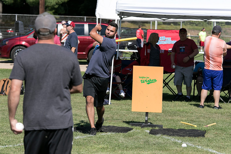 The Fourth annual Whifflin for Wishes was held at McLaughlin Field in Leominster on Saturday, August 24, 2019. This event is was open to people of all ages and skill levels, and 100% of the proceeds (after expenses) went to Make-A-Wish® Massachusetts & Rhode Island to grant wishes to children with life-threatening medical conditions. They have raised in the four years about $13,000. this year had 34 teams with three to five people on each team. Kevin McHugh from Orange pitches to his teammate Matt Bardsley, also from Orange, as they practice before the games started. SENTINEL & ENTERPRISE/JOHN LOVE