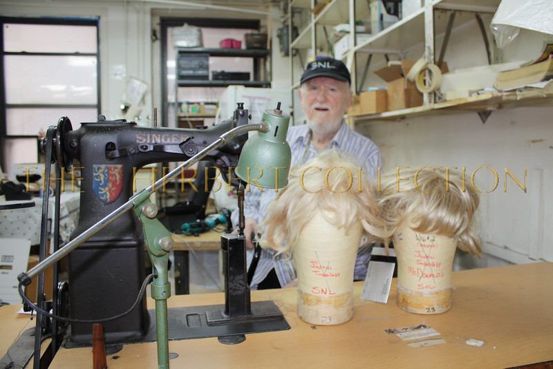 June 2nd, Bob is closing his shop 'Bob Kelly Creations' for good. Here he is sitting with two Justin Timberlake Wig Heads in front of him
