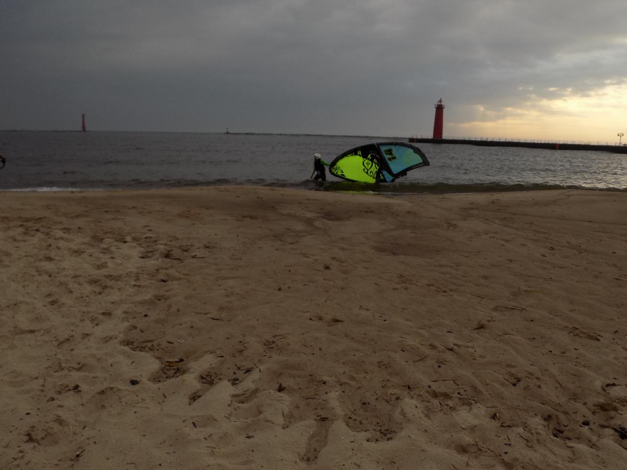 Windsurfing on Lake Michigan beach, near Muskegon, June 2015. Credit: NOAA