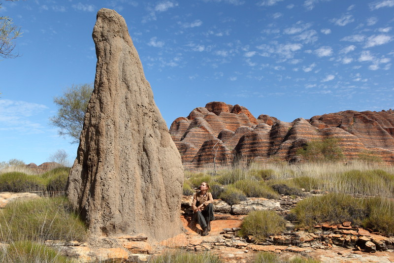 A very large termite mound, me, spinifex and bungles.