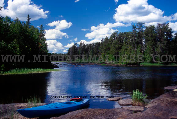 Kayaking on the Isebella River, B.W.C.A. Wilderness Area. Northern Minnesota. Client: Stock Photography Agency.