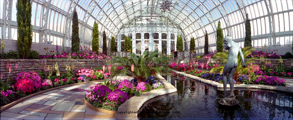 Panaramic of the interior of Como Park Conservatory, St. Paul, Minnesota. Client: Stock Photography Agency.