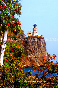 Splitrock Lighthouse with mountain Ash overlooking Lake Superior, North Shore of Lake Superior. Northern Minnesota. Client: Stock Photography Agency.