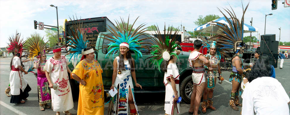 Mayan Indian Dancers walking to Cinco de Mayo Festival. Minneapolis, Minnesota. Client: Stock Photography Agency.