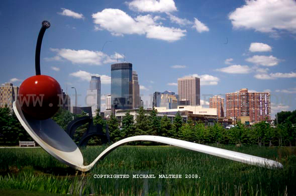 Giant Cherry and Spoon sculpture and Minneapolis skyline. Sculpture Garden, Minneapolis, Minnesota. Client: Photography Stock Agency.