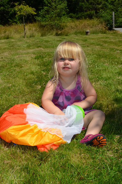 Emilie with her parachute