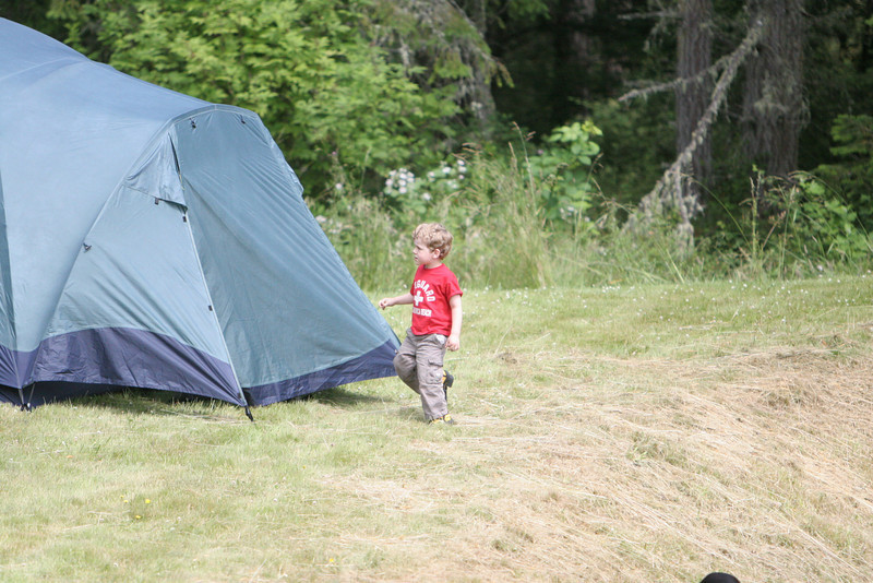 Benjamin checking out the tent