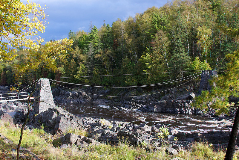 Reconstruction of the suspension bridge in J Cook State Park. It was washed out by the river in spring of 2012.