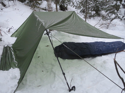 David does not even use a tent! He sleeps right on the snow like this, amazing.