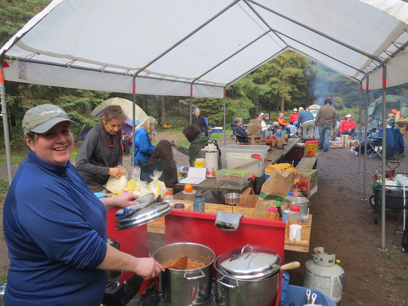 Rosie slaving in the kitchen. Thanks goes  to Rosie and Kim for all their hard work organizing this large event.