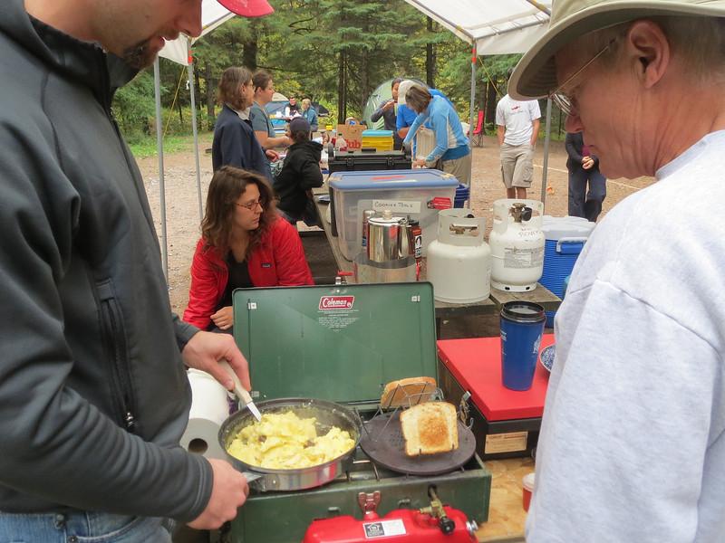 Frying up a dozen eggs for breakfast.