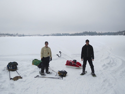 This is Patrick and David just after we finished crossing our first lake, Round lake.