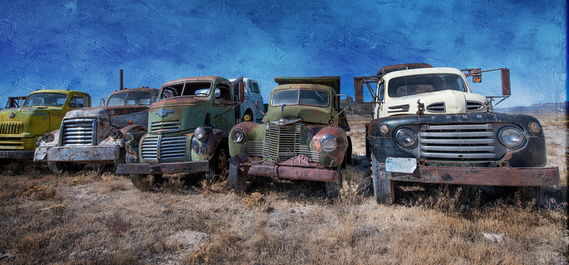 Painterly View of Old Trucks, Ely, Nevada
