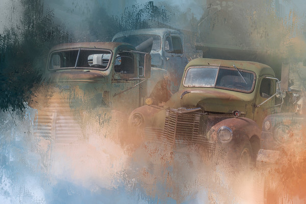 Painterly View of Old Trucks