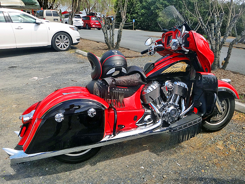 I had to take a picture of this cool motorcycle in the parking lot.