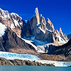 Cerro Torre (3102m), A. Standhart and A. Egger. View from across Laguna Torre on a rare perfect Patagonian day. Los Glaciares National Park, Argentina, South America.