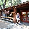 Karen loading up at the Yosemite Wilderness Centre at start of the walk in Yosemite Valley.