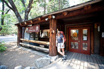 Karen loading up at the Yosemite Wilderness Centre at start of the walk in Yosemite Valley.