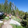 Karen approaching Tuolumne. John Muir Trail, the Sierra Nevada Mountains in California, United States.
