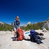Karen with Cathedral Peak in the background, on our way to Tuolomne Meadows.