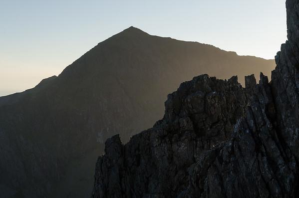 Snowdon in beautiful evening light from the pinnacles of Crib Goch.