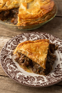 Venison and kidney pie. Read about this dish here: https://honest-food.net/venison-and-kidney-pie-recipe/
