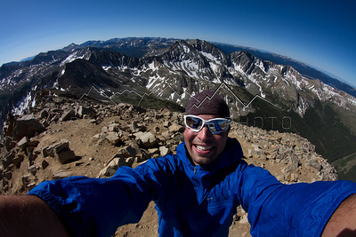 Ben Koelker, self portrait from the summit of Huron Peak