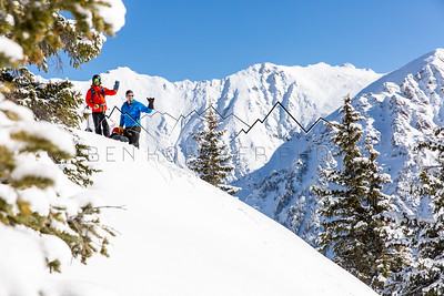 Bennett Levine and Justin McCarty enjoying the view, Vail, CO backcountry