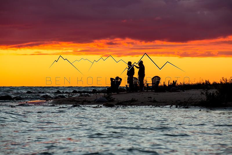 Watching the sunset on Lake Michigan