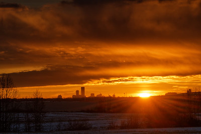 December sunrise over Edmonton