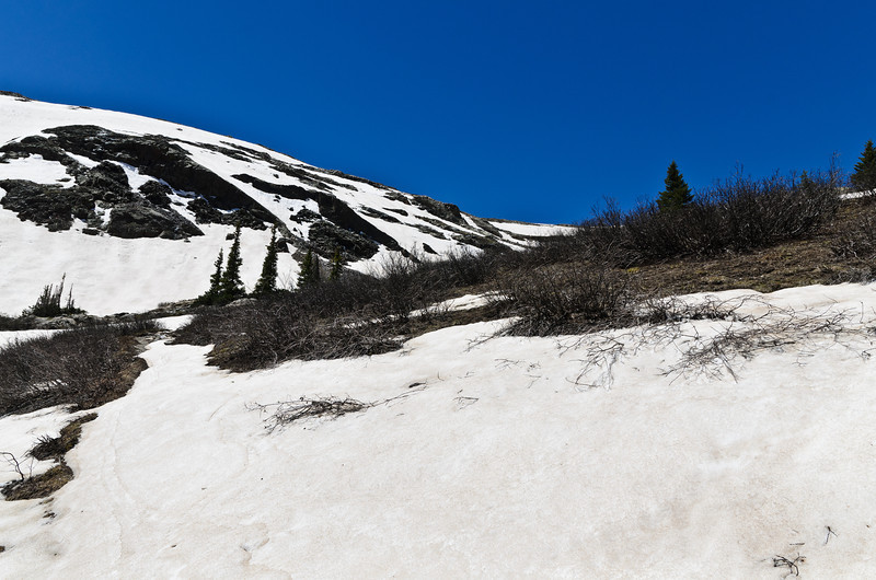 Here's where the trail was lost due to snow coverage. From here on out I was on GPS, map and compass to navigate.