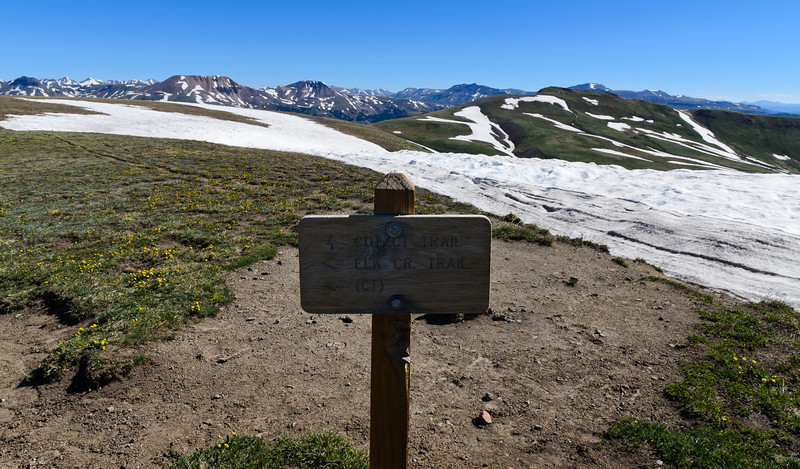 From the top of the divide. This sign located the Elk Creek trail from where I came, the Continental Divide trail that stretches from Arizona to Canada and the Colorado trail that connects Denver to Durango. Elevation here was 12,600 feet and the views were as far as the eye could see.