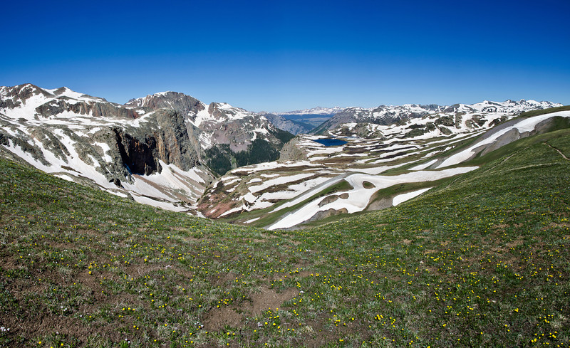 Panorama of snow capped peaks.