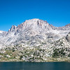 We arrived at Island lake for lunch and an even more impressive view of Fremont Peak. Titcomb Basin to it's left in this picture, Indian Basin to it's right.
