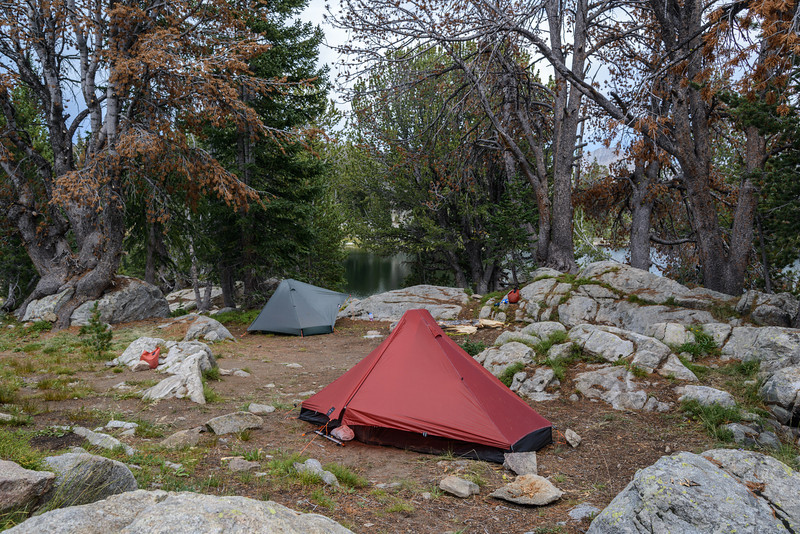 We arrived at Mary's Lake in a thunderstorm that was producing small hail and light rain. We both managed to get our shelters up quickly and avoided getting too wet. Our camp for the last evening out on this adventure.