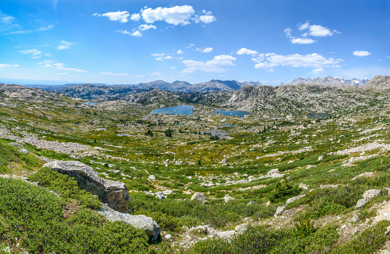 Before reaching the Cook Lakes, we had to cross Lester Pass. This was the view from about half way up. Titcomb and Indian basins were located in distant mountains to the right in this image. 7 frame panorama.