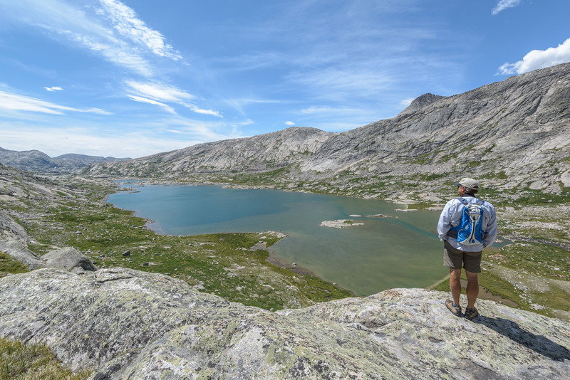 Steve standing close to the edge. It was a BIG drop from here. Lower Titcomb lake was a mile long.
