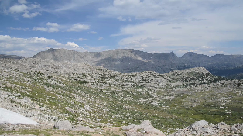 A view from the top of Lester Pass looking forward towards the Cook Lakes.