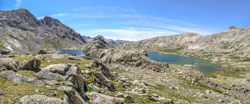 A panorama of the southern view. Mistake lake to the left, lower Titcomb Lake to the right.