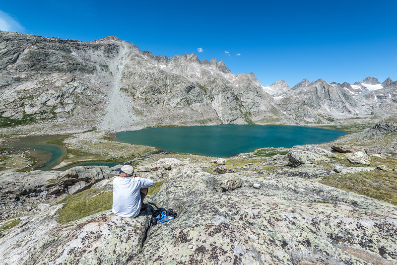 Checking out the views from high above upper Titcomb Lake.