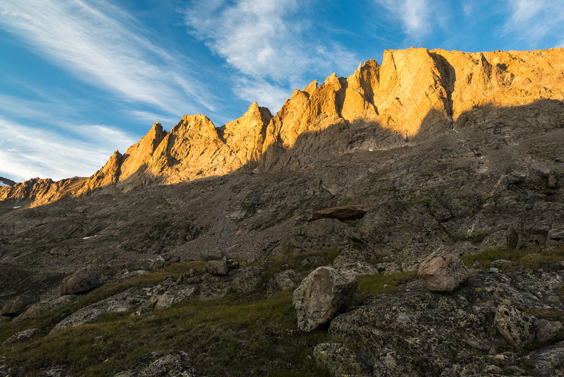 Titcomb Basin's guarding walls in the evening light.